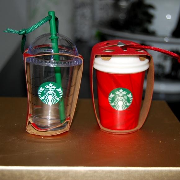 NWT 2 Ceramic Starbucks Holiday Ornaments